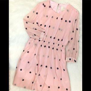Kate Spade ♠️ Polka Dot Pink & Black Dress, Sz 14